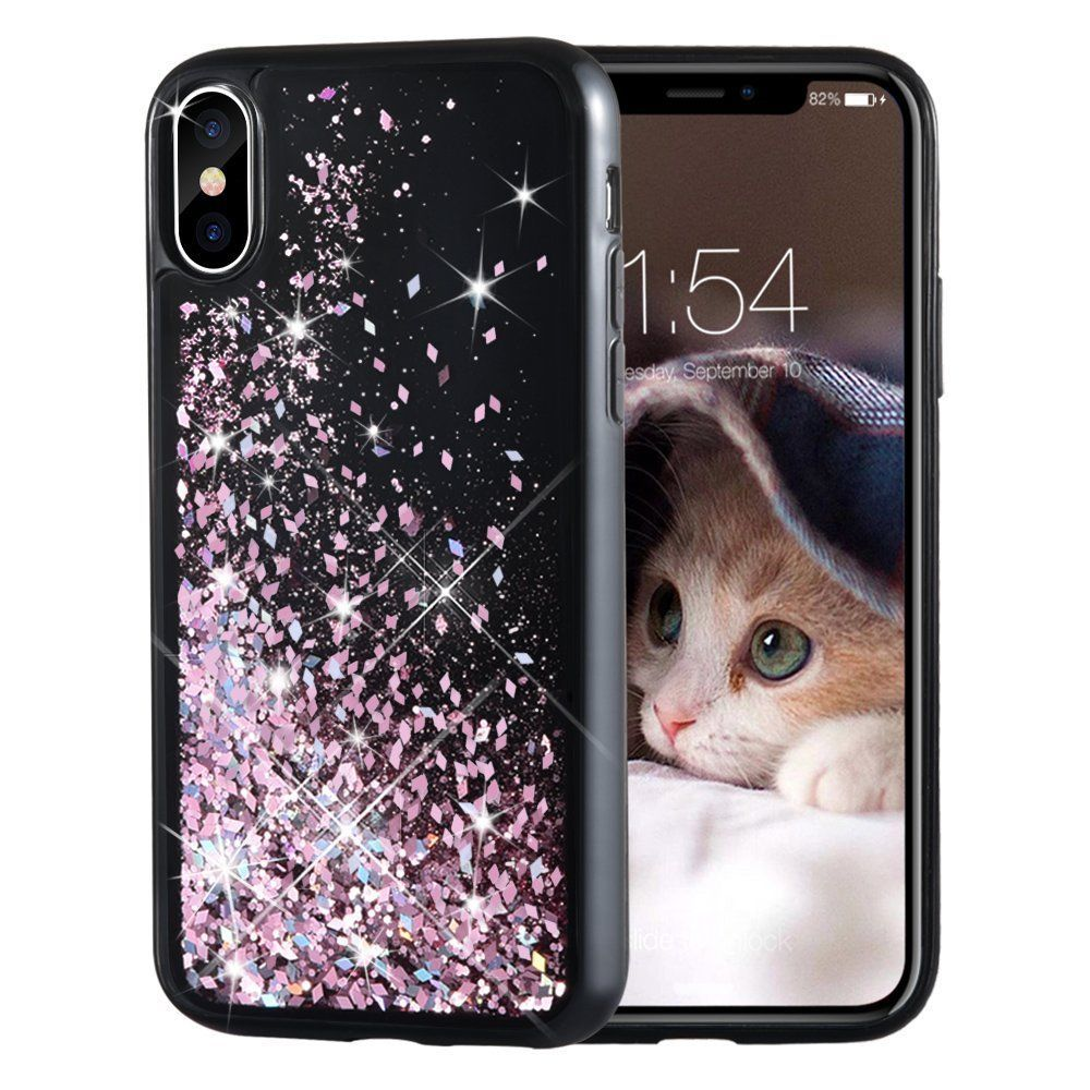 For Iphone X Case Glitter Girls Case Black Glitter Liquid Bling Pretty Fashion Liquid Glitter Phone Case Glitter Iphone 6 Case Sparkle Phone Case