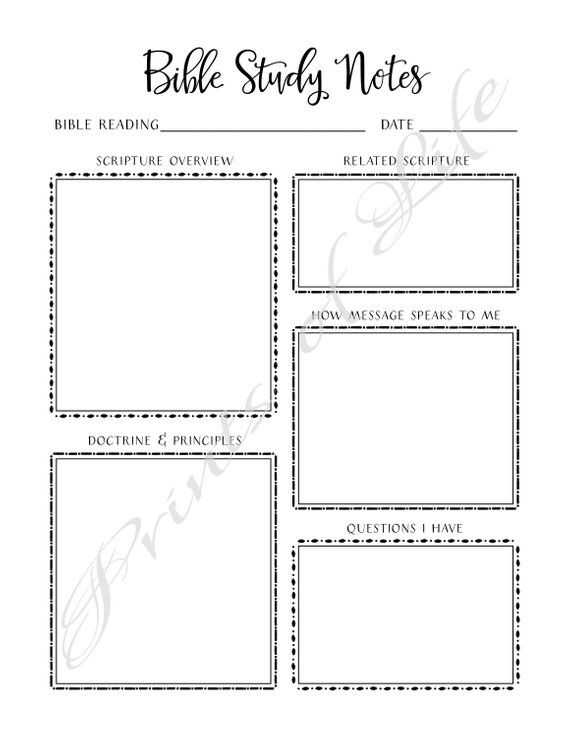 Bible Study Notes  PDF printable  Instant download  Church