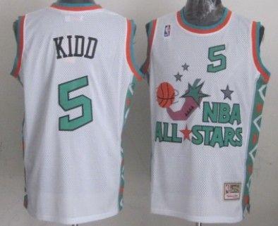 new style 28aef ab571 NBA 1996 All-Star #5 Jason Kidd White Swingman Throwback ...
