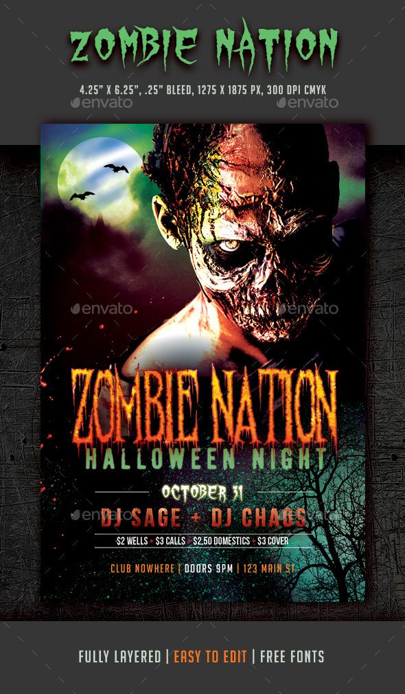 Halloween Zombie Nightclub Flyer  Halloween Zombie Flyer Template