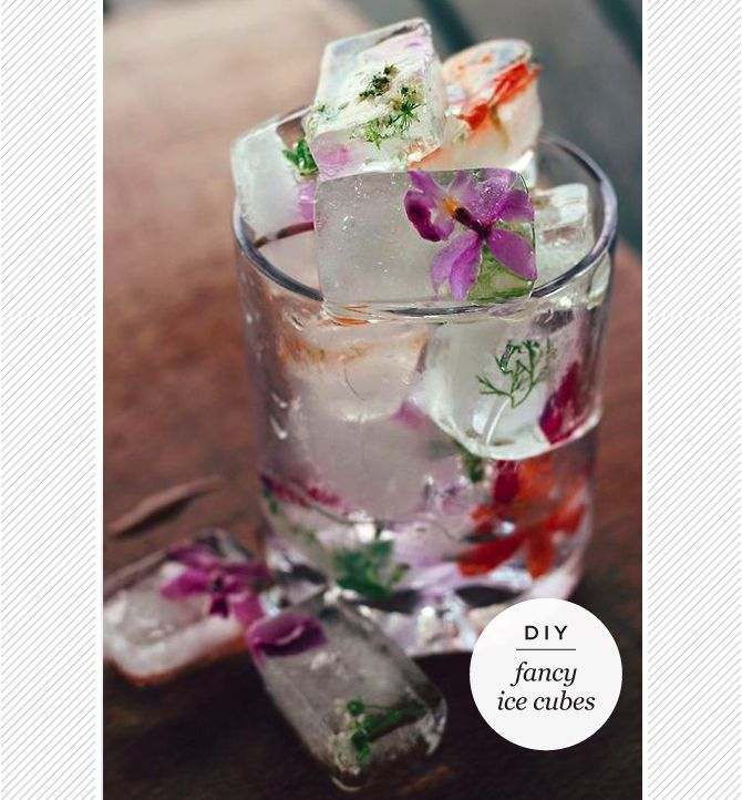 Fancy ice cubes for your garden party or wedding
