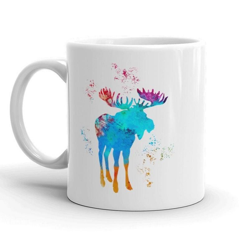 Unique Watercolor Moose Coffee Bar Mug Mountain Animal Cup Ceramic