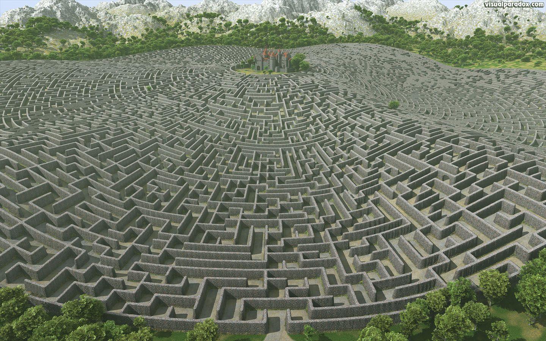 labyrinth art | castle, walls, maze, labyrinth, fortress ... Labyrinth David Bowie