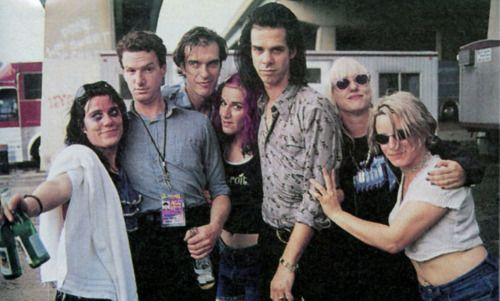 Backstage at Lollapalooza 94 in Philly: L7 (Donita Sparks, Dee Plakas, Suzi Gardner & Jennifer Finch) with Mick Harvey, James Johnston & Nick Cave. (Rolling Stone)