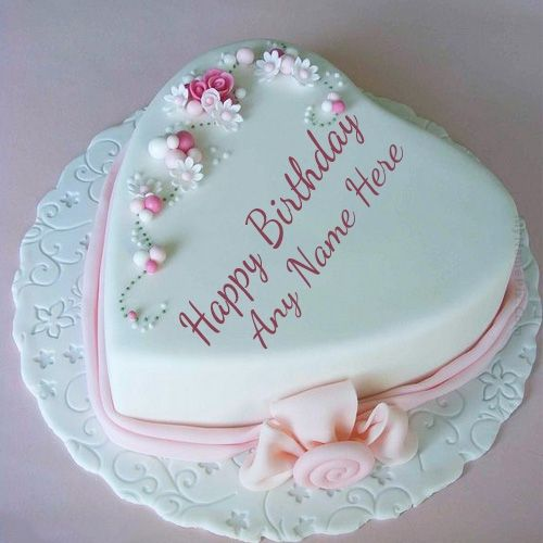 Heart Shape Birthday Cake With Name With Images Happy Birthday
