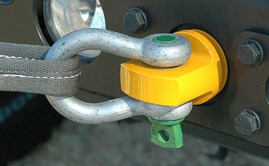 Rotator Shackle Mount. The patent pending design of our Rotator Shackle Mount is built for severe-duty applications and extreme side angle loading that will fail standard rigid shackle mounts. Load rated at 45,000 lbs (minimum breaking strength), this innovative design eliminates the dangerous side-loading weak points found in traditional rigid shackle mounts by allowing the recovery shackle to freely rotate a full 360 degrees to any loading angle.