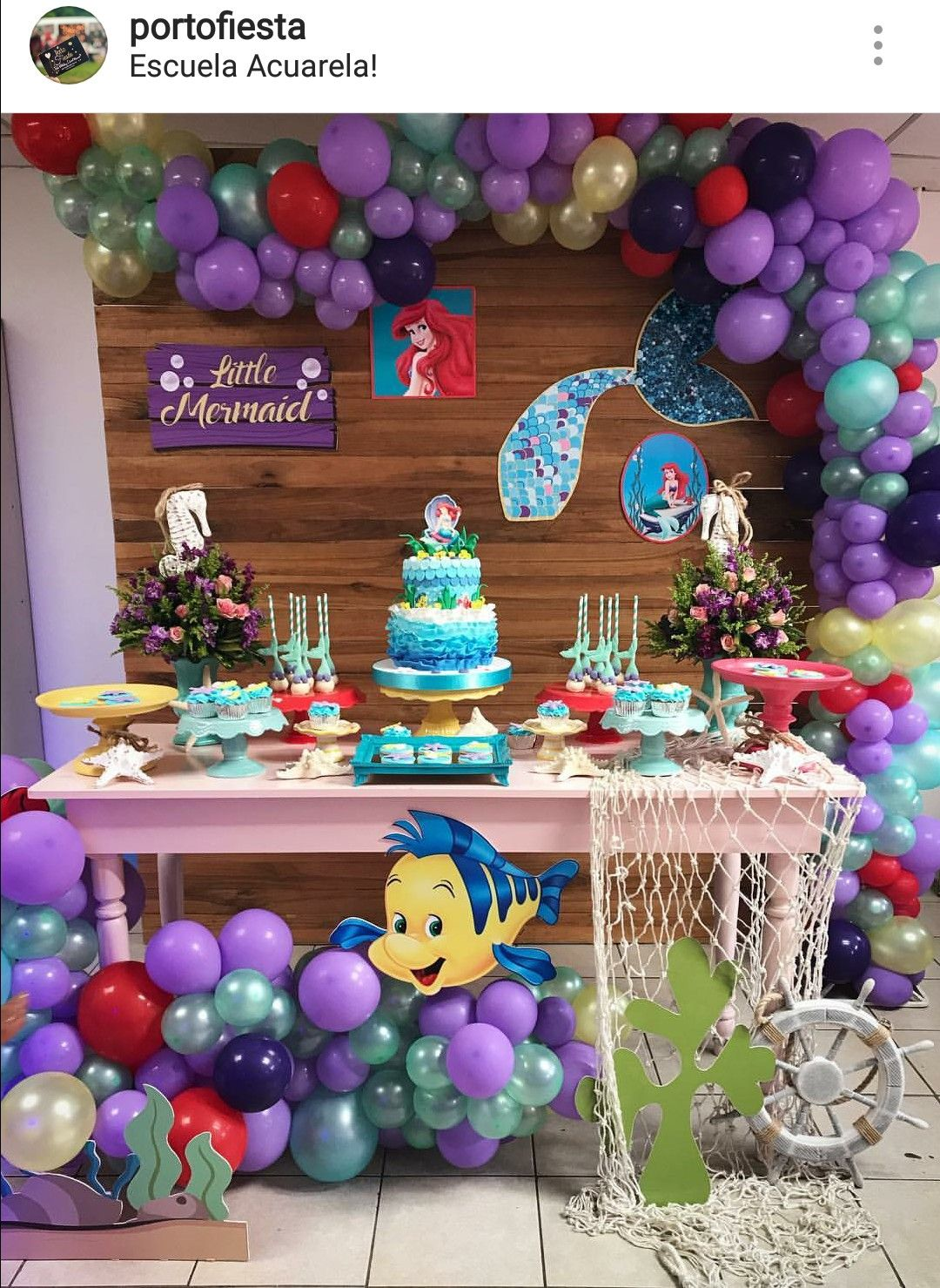 The Little Mermaid Theme Birthday Party Dessert Table And Decor Ariel Birthday Party Mermaid Birthday Party Decorations Mermaid Theme Party