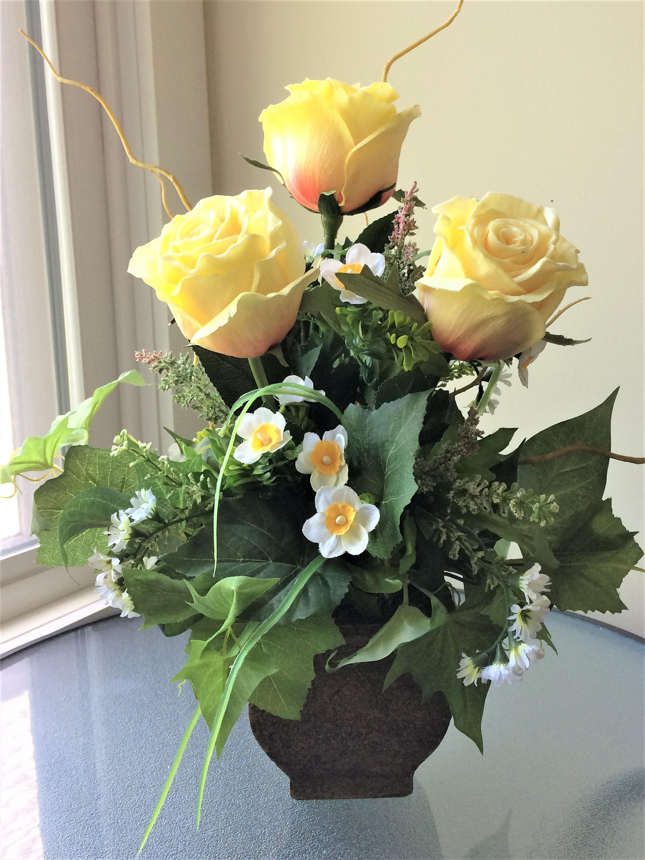 Yellow Rose Flower Arrangement Silk Flower Centerpiece Artificial