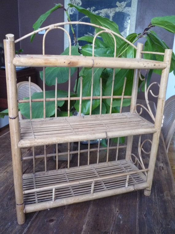 Vintage 3 Tier Bamboo Rattan Wall Tabletop Shelf By Trovemagpie Rattan Bamboo Table Top