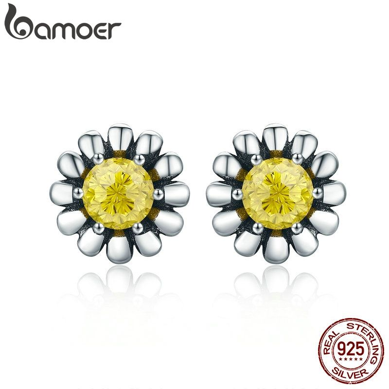 925 Sterling Silver Dazzling Daisy Stud Earrings With Clear Jewelry ANNIVERSARY