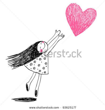 Cute little girl holding heart. VEctor doodles illustration - stock vector