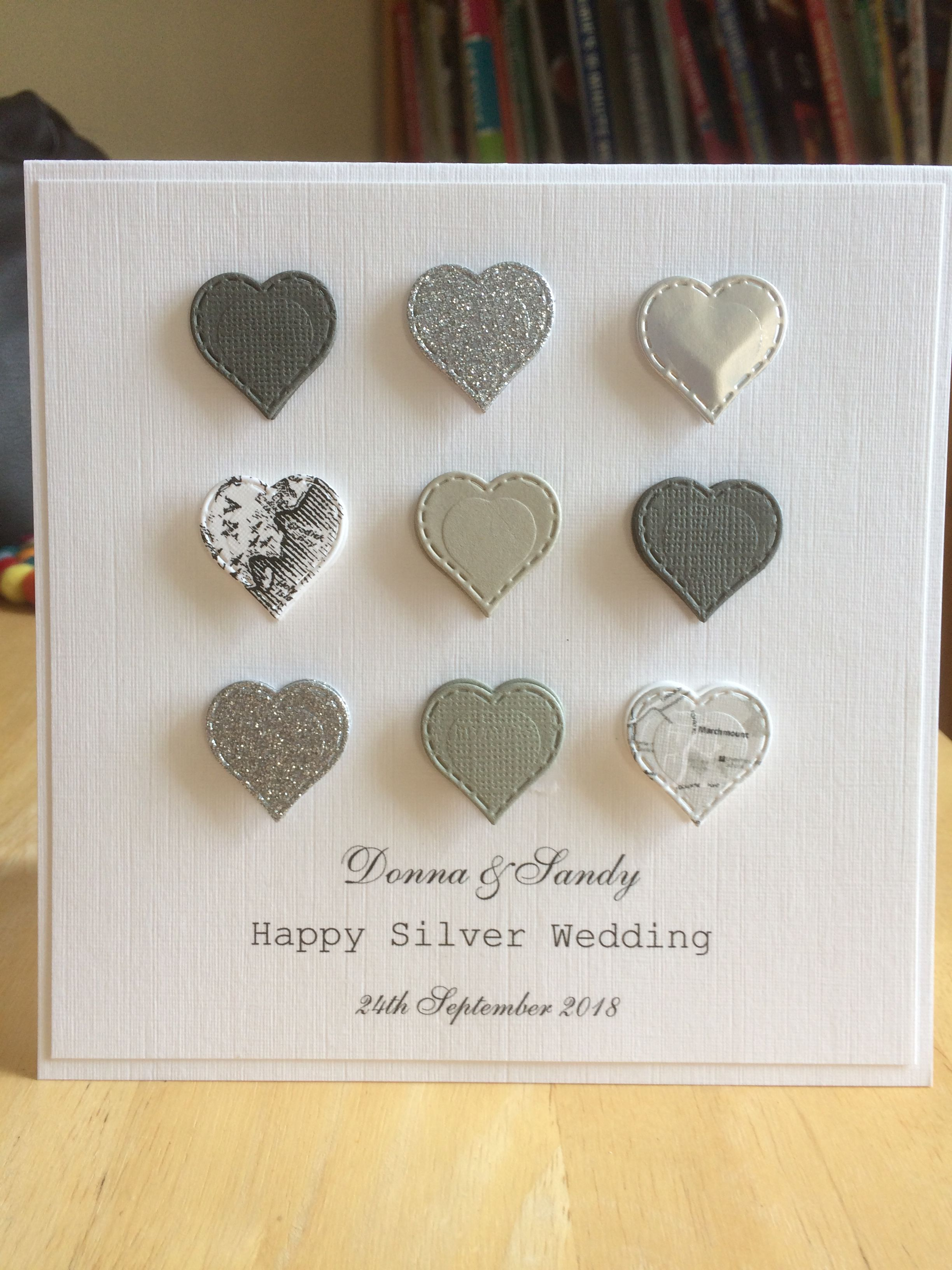 wedding,birthday 4 x Gold//Silver Large Double hearts card toppers die cut