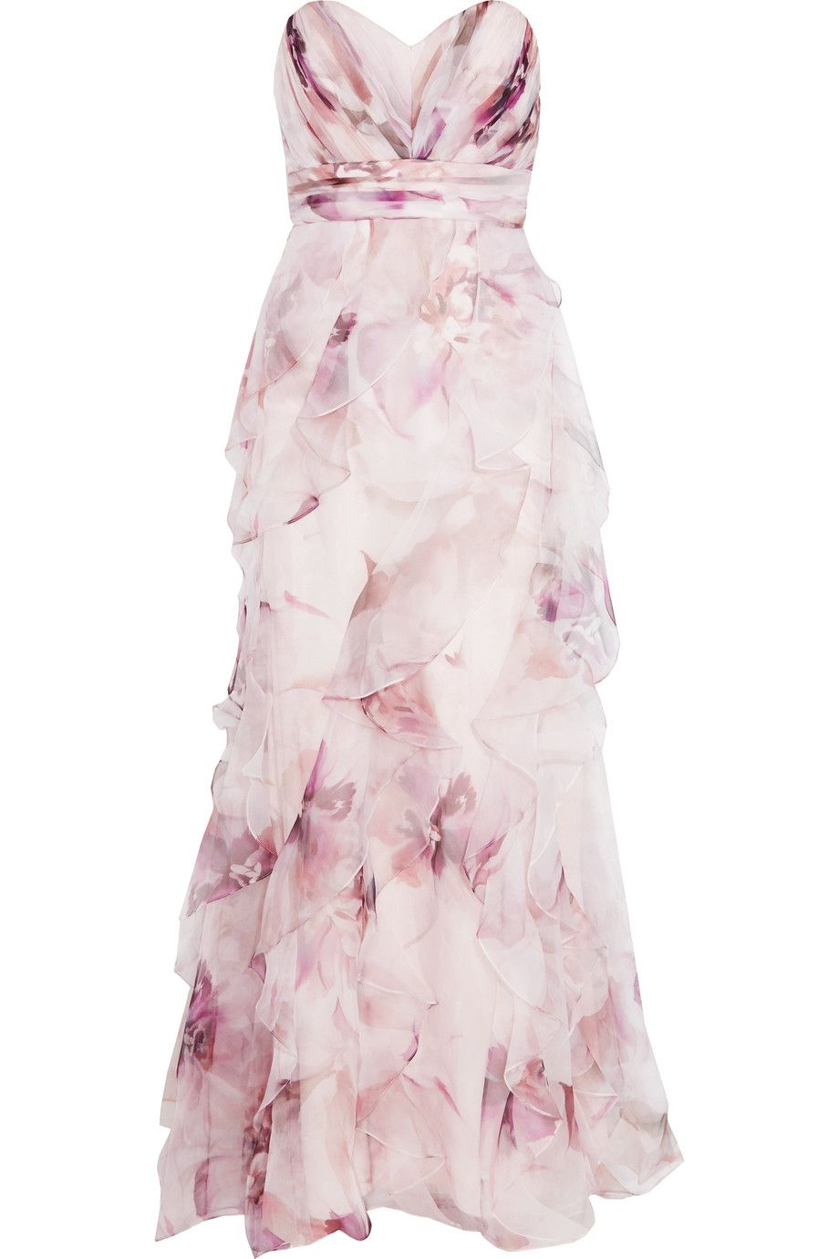 0a7f3c606ebd7 Shop on-sale Badgley Mischka Ruffled floral-print silk-chiffon gown. Browse  other discount designer Dresses & more on The Most Fashionable Fashion  Outlet, ...