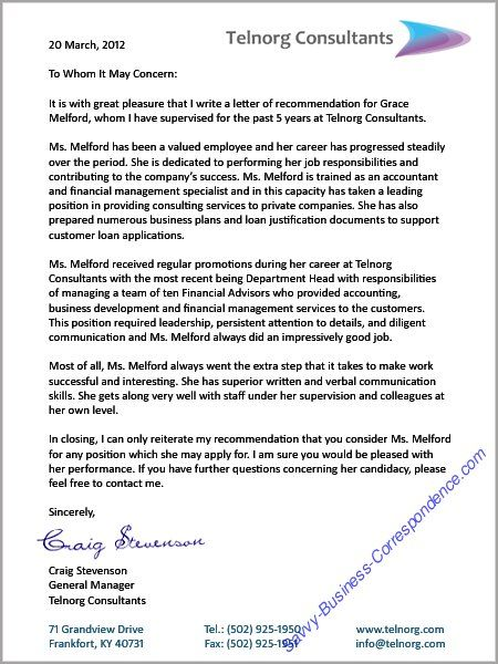 Reference Letter Businessletter  Business Letters