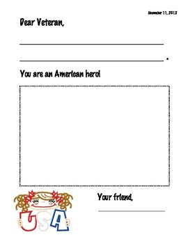Veteran's Day Card Writing Template | Letter writing ...