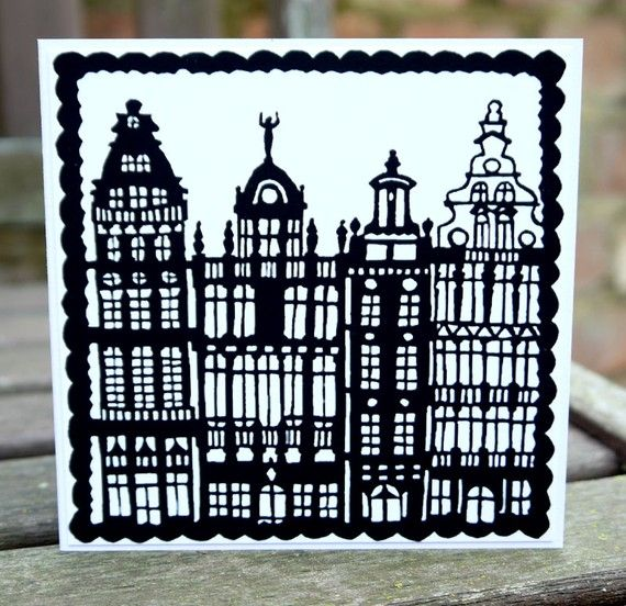 Papercut Baroque Houses by FolkArtPapercuts on Etsy