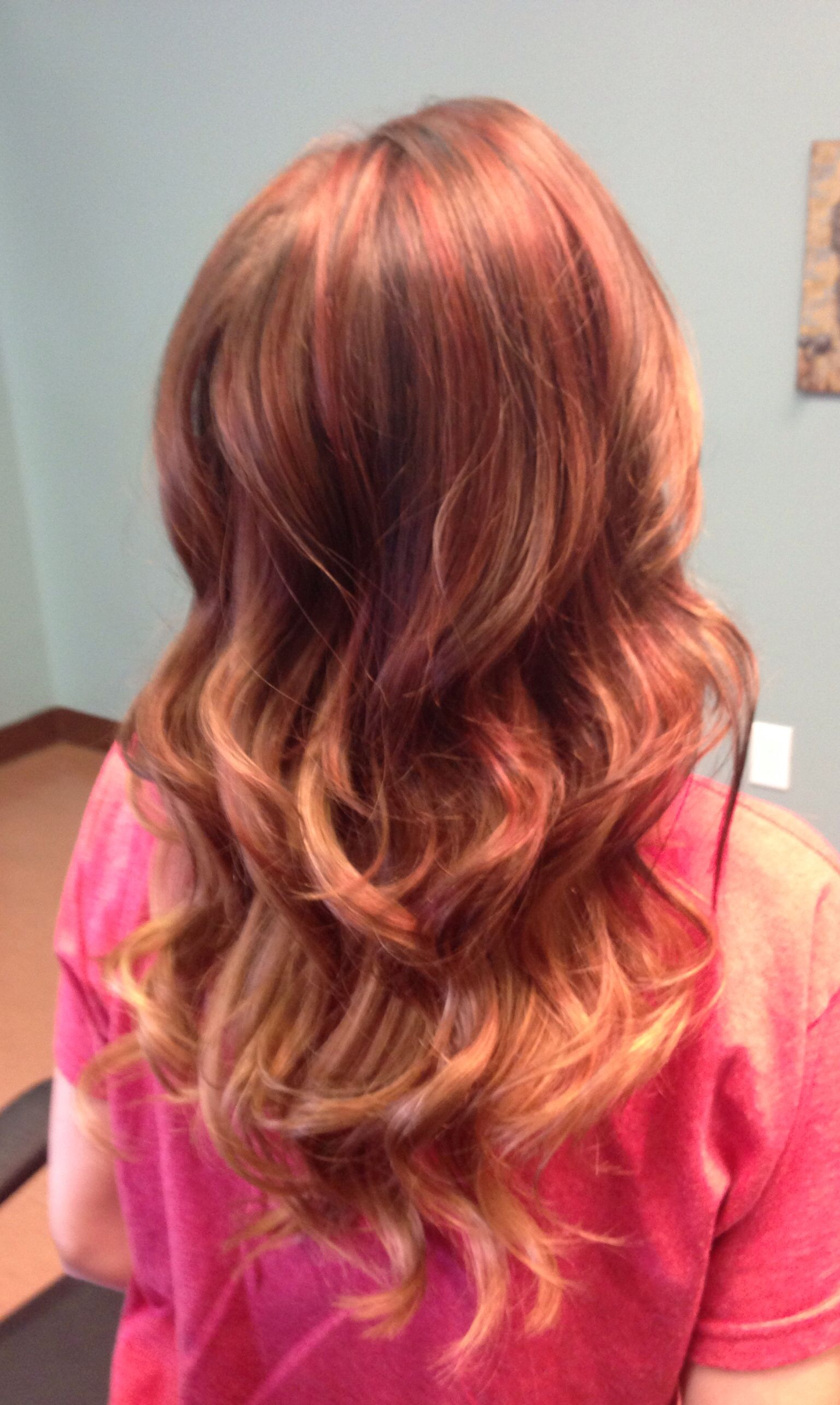 Hair by Stormie Kaney for Solange Salon Red lowlights Peekaboo
