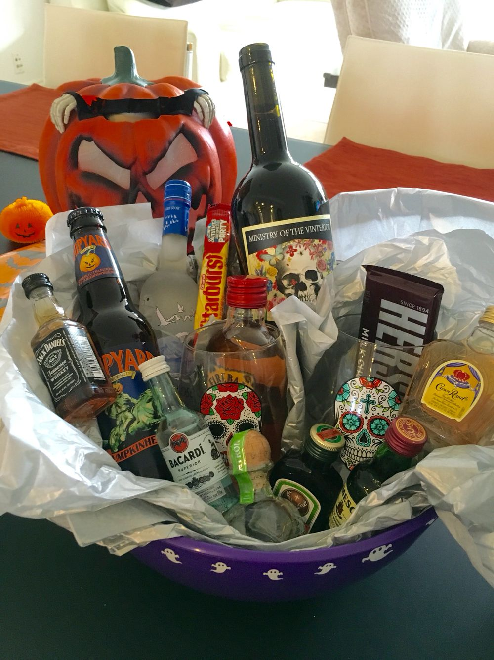 Adult Halloween Gift Basket Prize | Halloween gift baskets ...
