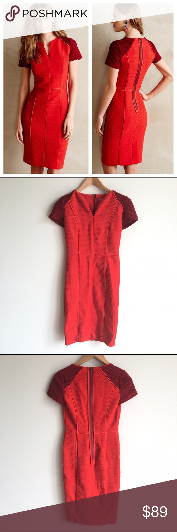 Anthropologie maeve red eunoia pencil dress anthropologie