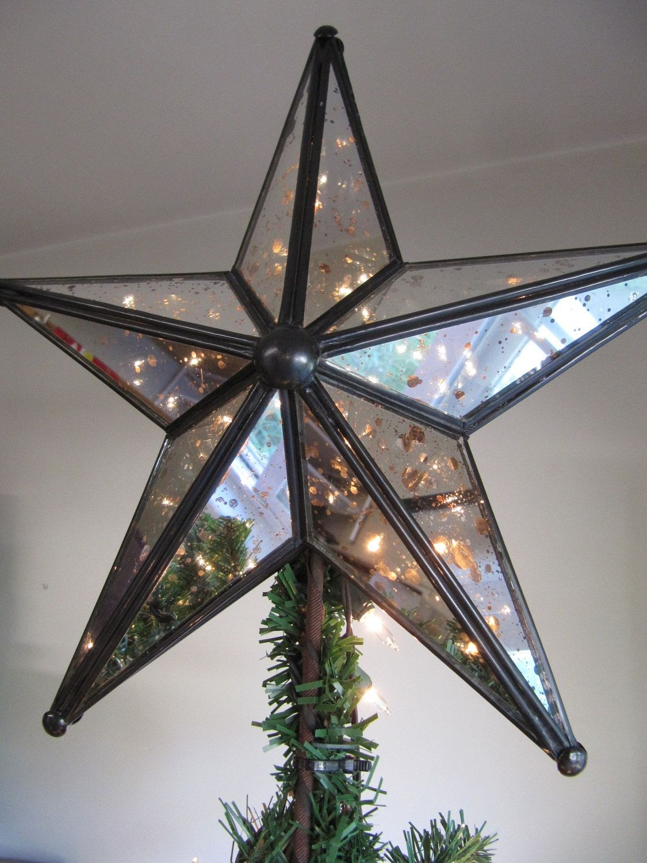 mercury glass lighted christmas tree star 6500 via etsy - Glass Christmas Tree Topper