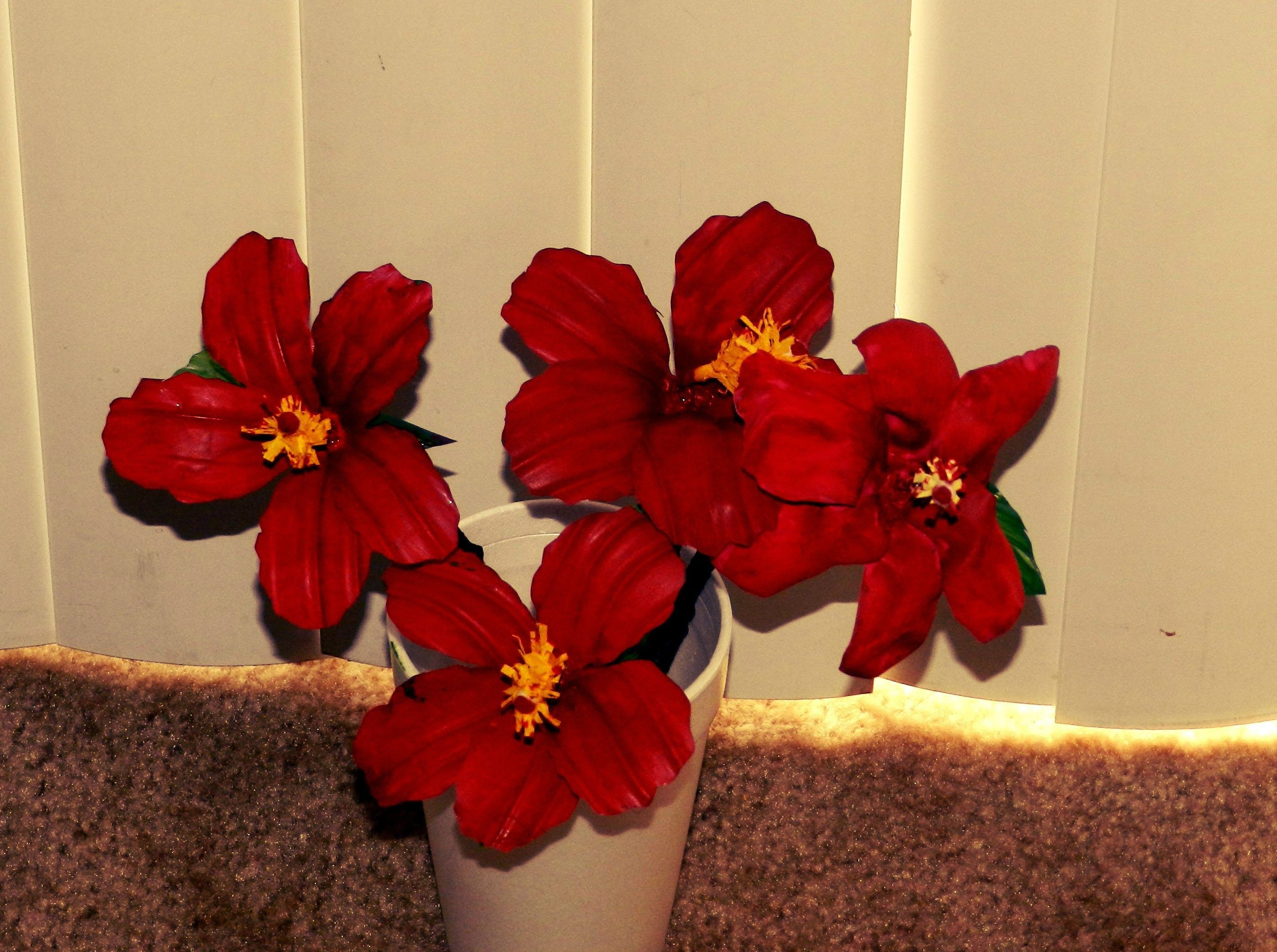Recycled Diy Hibiscus Flowers Made With Waste Plastic Water Bottles
