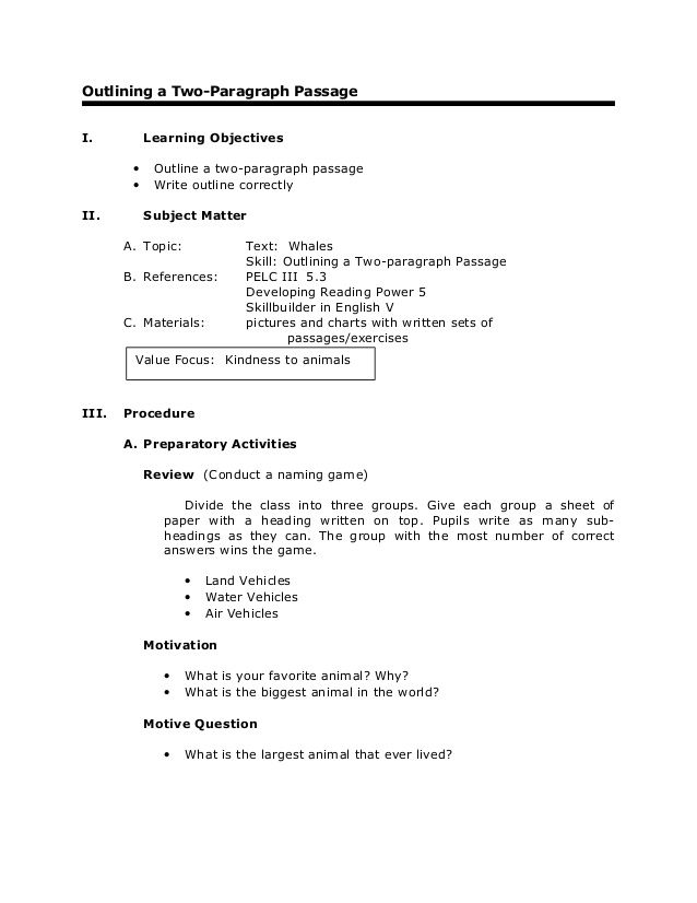 Outlining a Two-Paragraph Passage I Learning Objectives u2022 Outline - sample course evaluation form