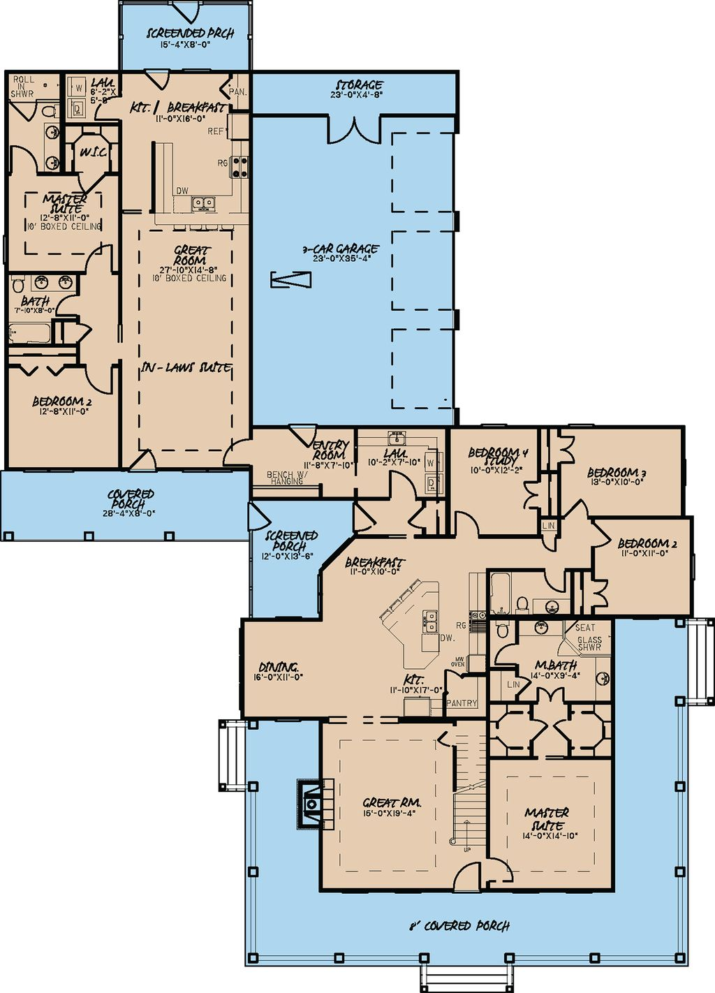 Farmhouse Style House Plan 6 Beds 4 Baths 3437 Sq Ft Plan 923 22 Farmhouse Style House Plans Family House Plans House Plans One Story