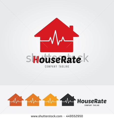 House Rate Logo Template With Heart Rate Heart Rhythm