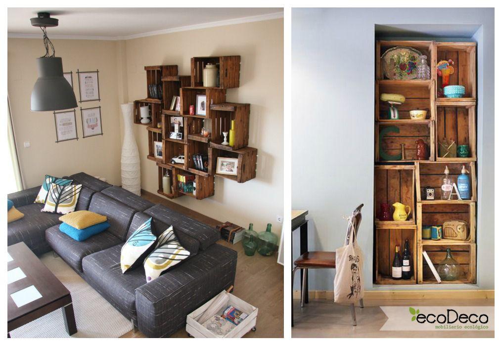 01 estanteria cajas de fruta salon ideas cajas de madera - Ideas con cajas de frutas ...