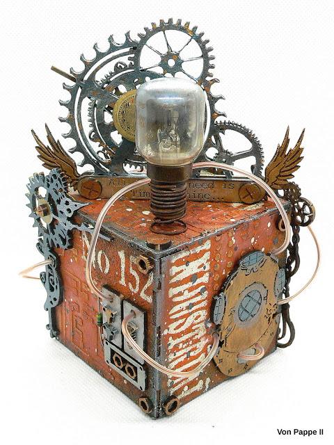 Von Pappe Ii Time Machine An Artist Trading Block Created For Sandee Amelie S Steampunk Summer Special Challenge Altered Art Steampunk Tim Holtz Crafts