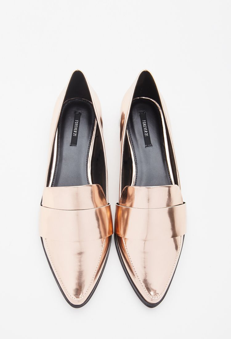 e6f13dcd1be The Best Trendy Loafers for Women - Faux leather gold pointed loafers    24.90 at forever21.com