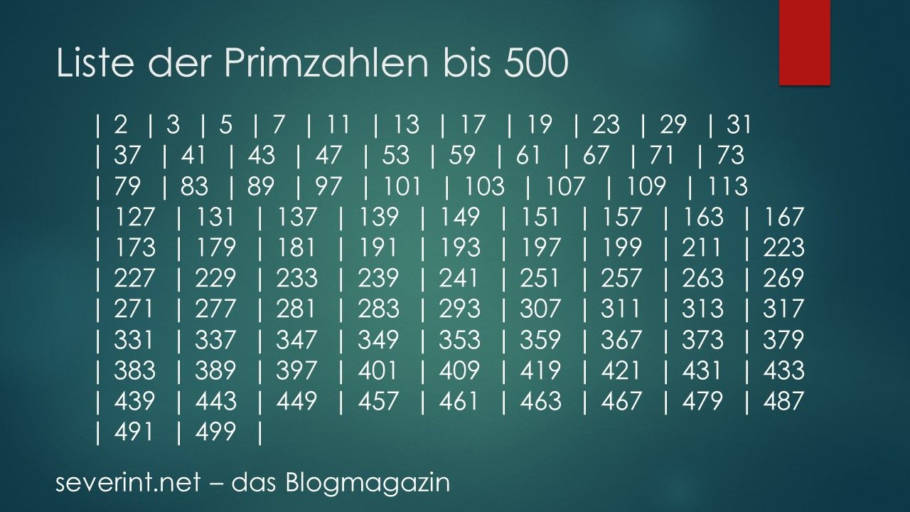 Liste der Primzahlen bis 500   Primzahlen, Primer und Zahlen