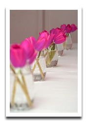 Long Table Centerpiece With Individual Bud Vases Inexpensive Table  Decoration