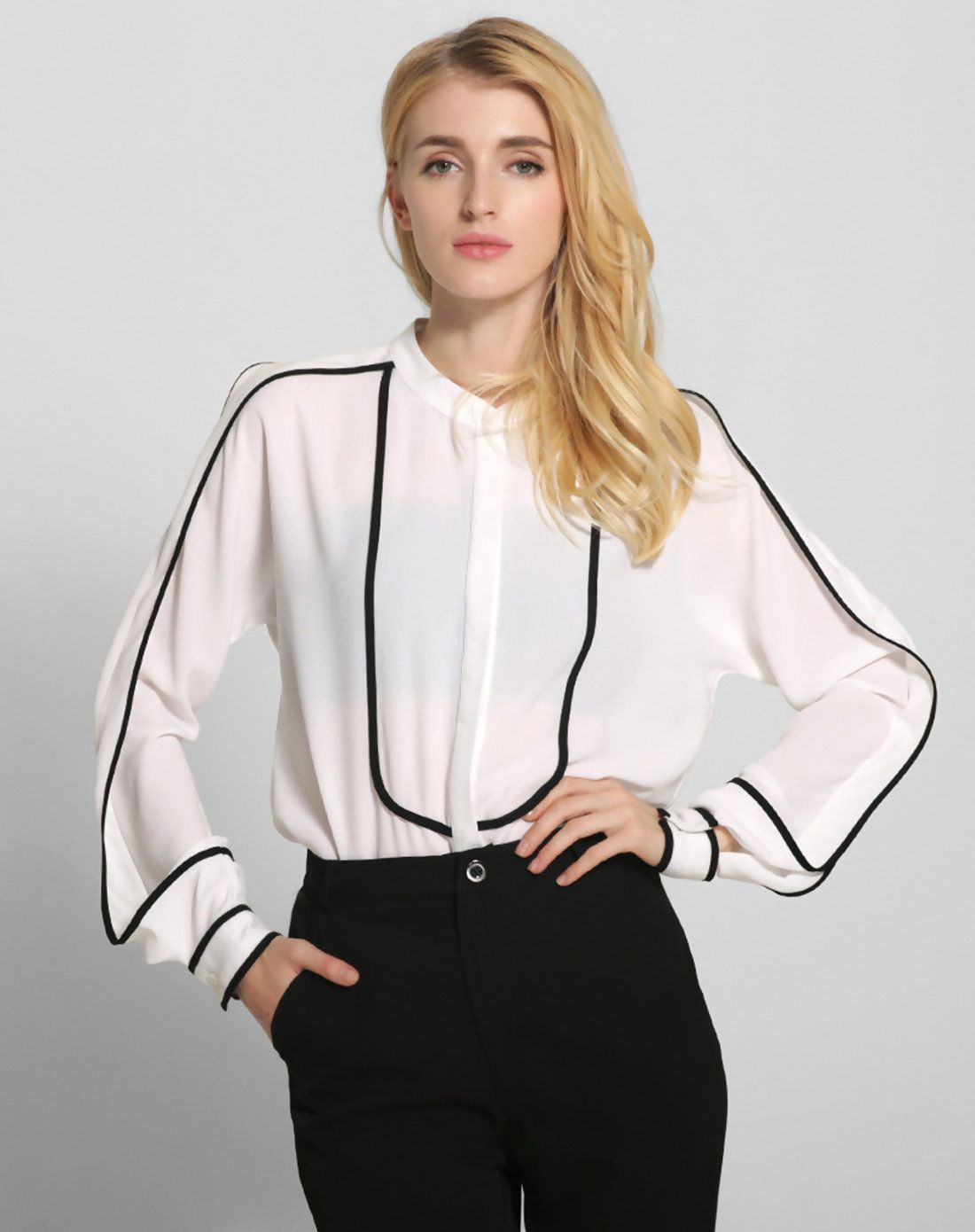 99019a031b48c  VIPme White Stand Collar Long Sleeve Shirt ❤ Get more outfit ideas and  style inspiration from fashion designers at VIPme.com.