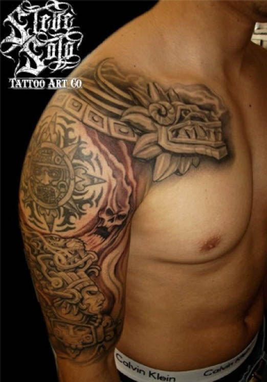 Aztec Serpent Tattoo : aztec, serpent, tattoo, Gallery, Feature, Aztec, Inspired, Tattoo, Could, Find., He…, Tattoos,, Tattoos, Sleeve,, Tribal