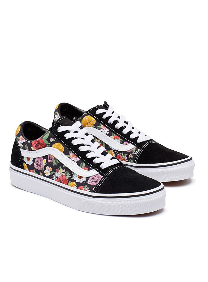 df5da5aa9512 Vans Sk8-Hi Pro Lizzie Floral Black   White Skate Shoes in 2019