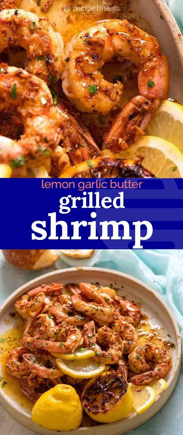 Crispy Grilled Shrimp (Prawns) with Lemon Garlic Butter #grilledshrimp