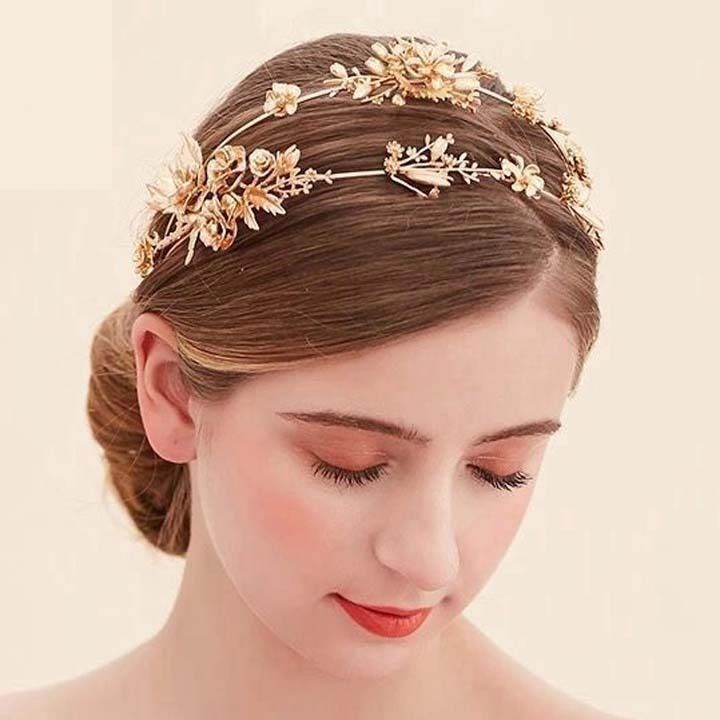 Bridal Queen gold tone Faux pearl Flower Head tiara Crown headband HR478 | eBay