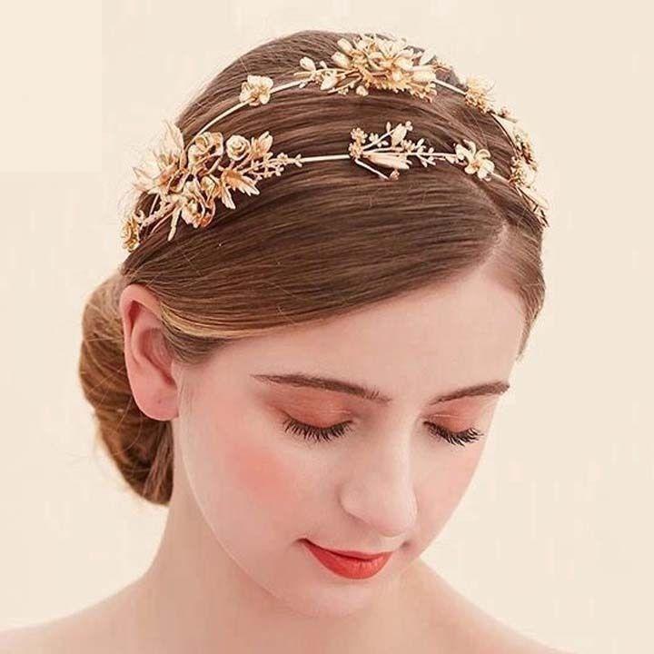 Bridal Queen gold tone Faux pearl Flower Head tiara Crown headband HR478 | eBay