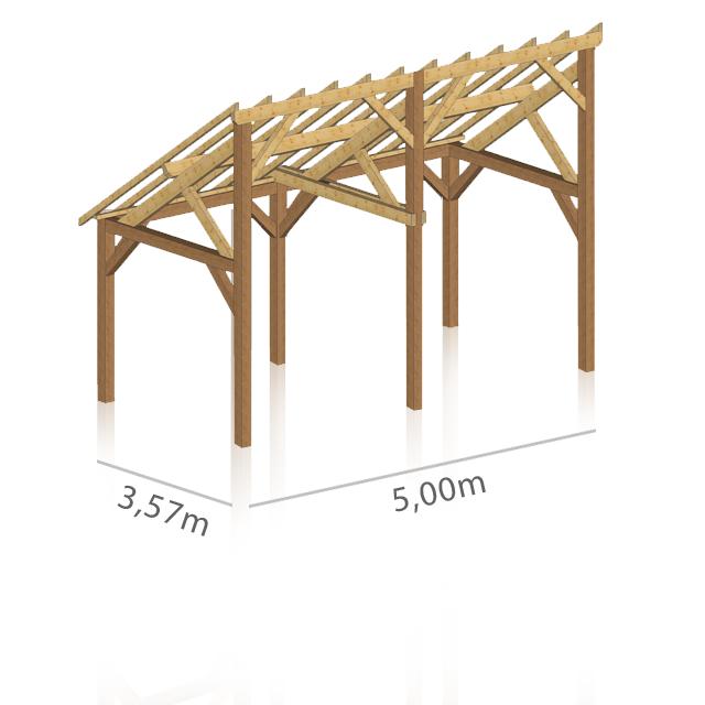 schema de charpente bois pour preau 1