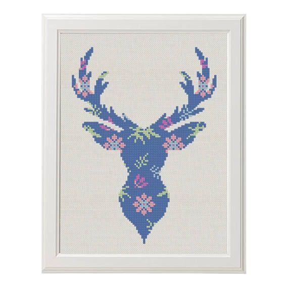 Flower Deer Cross Stitch printable pdf pattern, Deer Pattern, floral ...