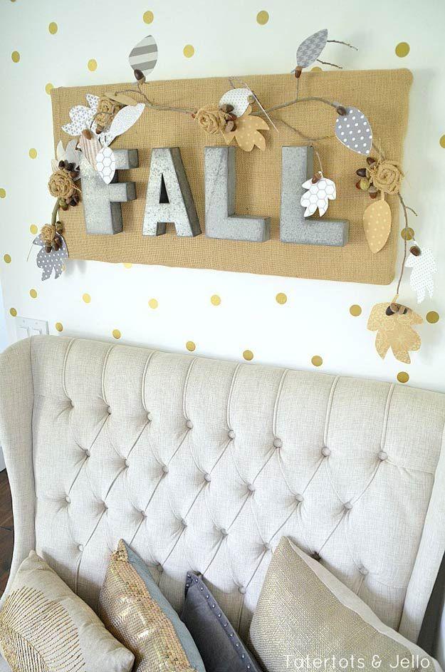 Fall Burlap u0026 Metal Letter Wall Hanging