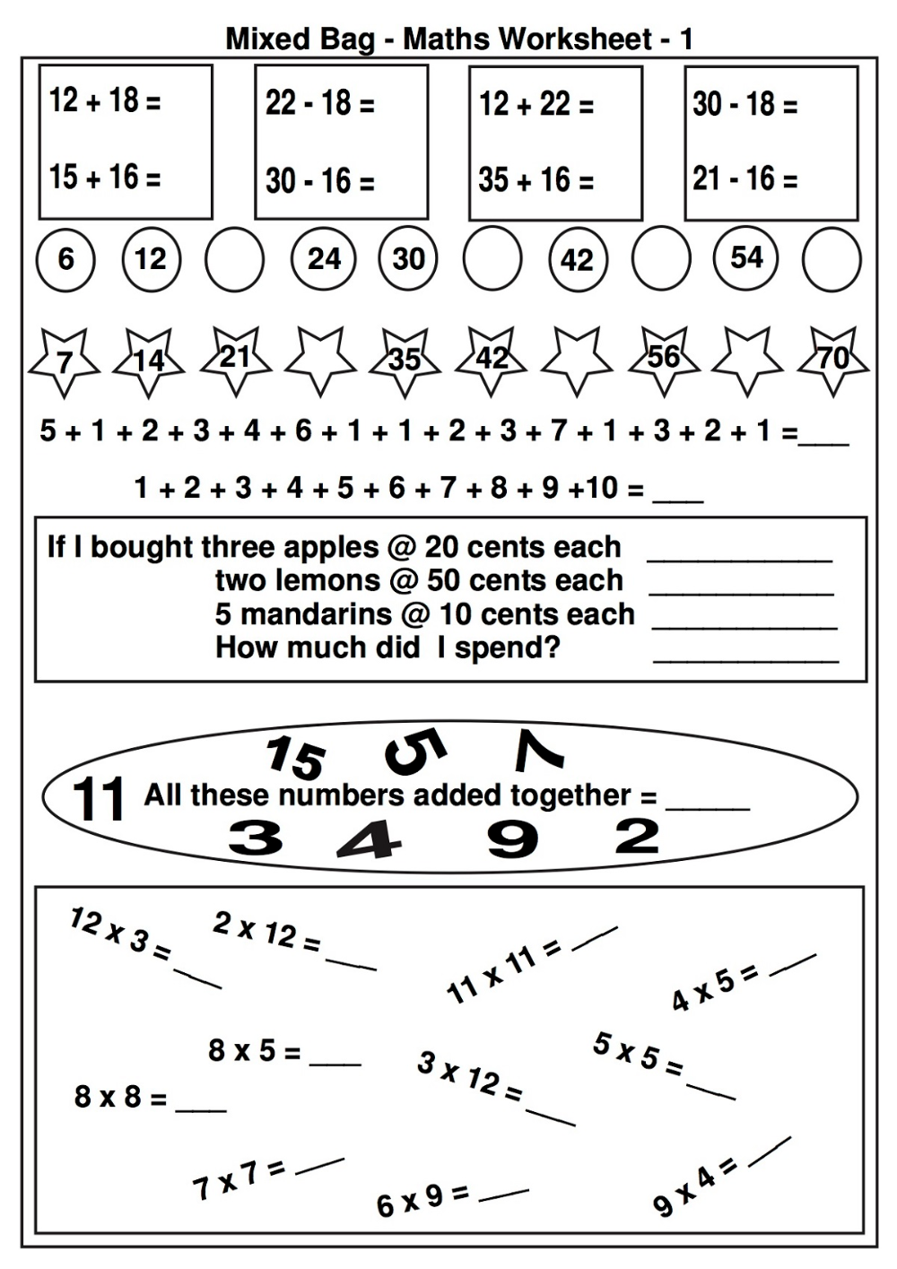 Printable Elementary Math Worksheets Free 2nd grade math