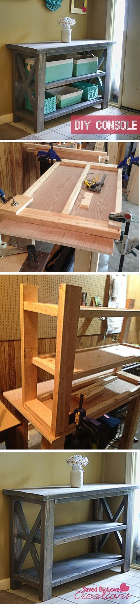 Rustic Console Table #woodworking #DIY plan from Ana White I need a place to put baskets to hold all the stuff that used to end up on the kitchen counter, table, desk #woodworkingbench