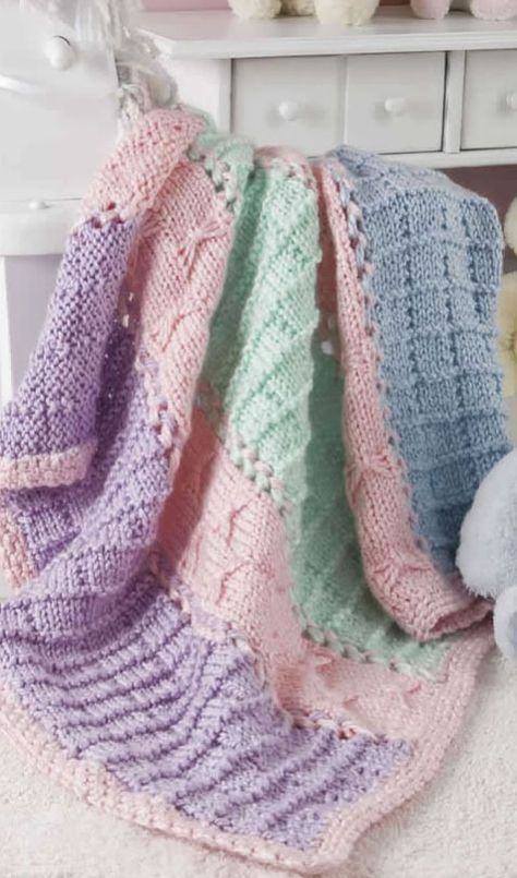 Quick Knit Panels And Bows Free Baby Blanket Knitting Pattern Baby