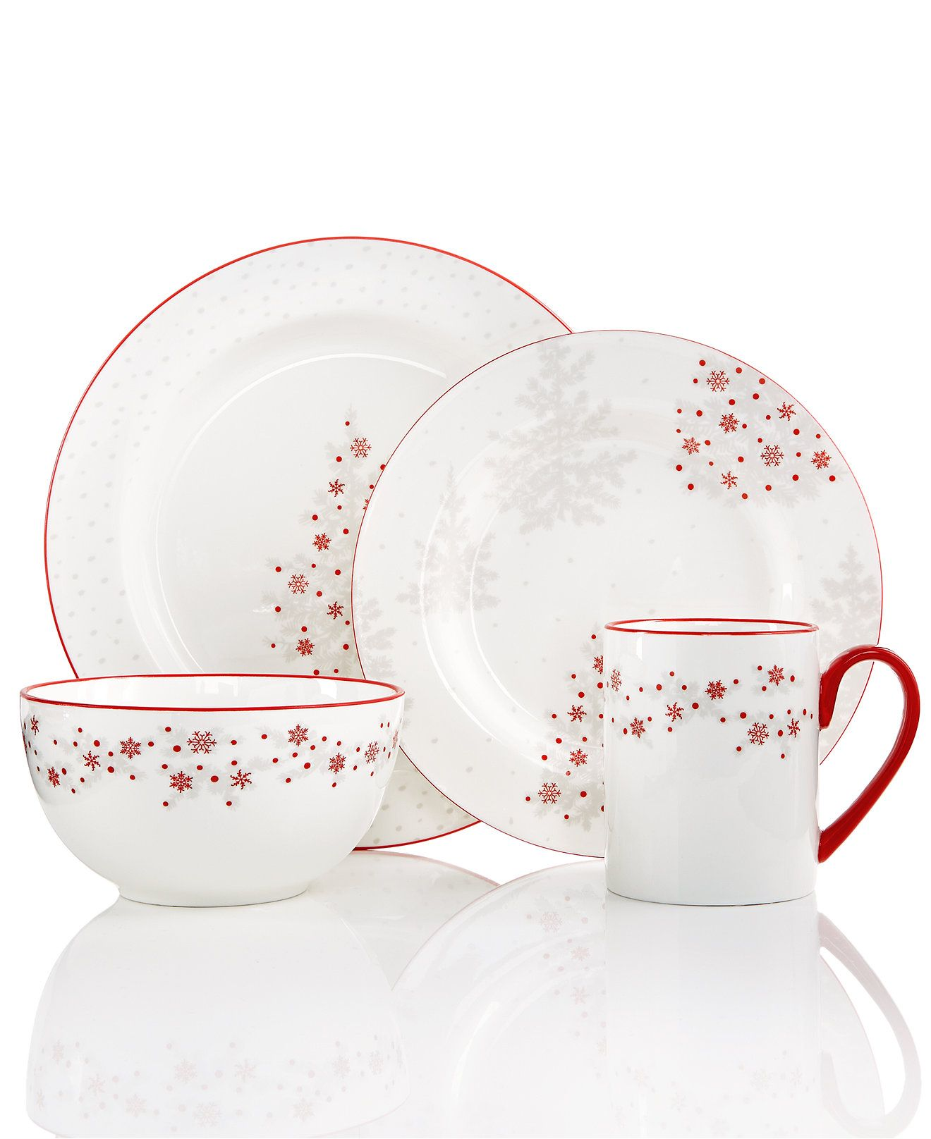 Martha Stewart Collection Winter Woods Round 4 Piece Place Setting Only At Macy S Christmas Dining Fo Winter Wood Christmas Dining Dining And Entertaining