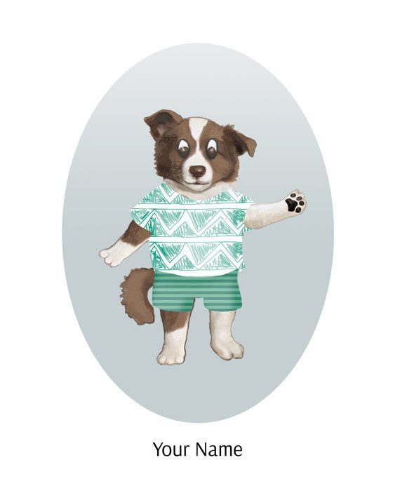 Nursery Animal Art  8x10  Puppy Dog Art Print  by TheButtonBird