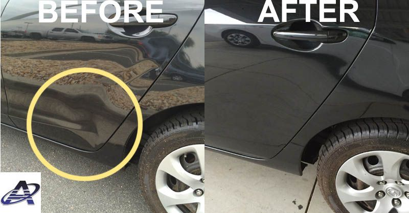 Here is a great example of paintless dent repair removing