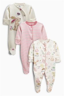 689eef638 Three Pack Spot Bunny Sleepsuit (0mths-2yrs)
