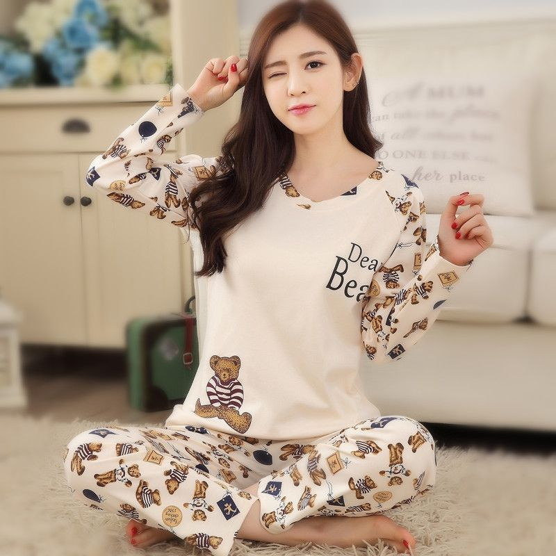 6e3940cf47f3 Lovely pyjamas Fashion New Girls Pajamas causal carton women pajamas sets  Sleepwear For women Home wear clothes Nightgown Sets